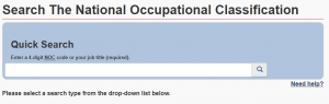 National Occupational Classification screenshot